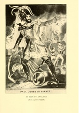 Figure 4: 'Paul Jones the Pirate as Seen by England', Illustrative plate in Willis John Abbot, The Story of Our Navy for Young Americans, from Colonial Days to the Present Time (New York: Dodd, Mead & Co., 1910), facing page 12.