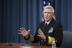 Figure 1: Adm. Samuel J. Locklear III, commander of U.S. Pacific Command, has charged his officers with thinking about how they will show up to the next war and be lethal and dominant. Here he briefs the Pentagon press corps on America's rebalance to the Asia-Pacific region. (U.S. Marine Corps photo 140123-M-EV637-053)