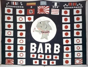 Figure 3: Battle flag used while Barb was commanded by Commander Eugene B. Fluckey, circa 1945. One of the best examples of how successful an aggressive submarine commander could be, Commander Fluckey took the fight to the Japanese, even sending men ashore on the Japanese home islands to blow up a train. (Naval History and Heritage Command, NH 63789-KN)