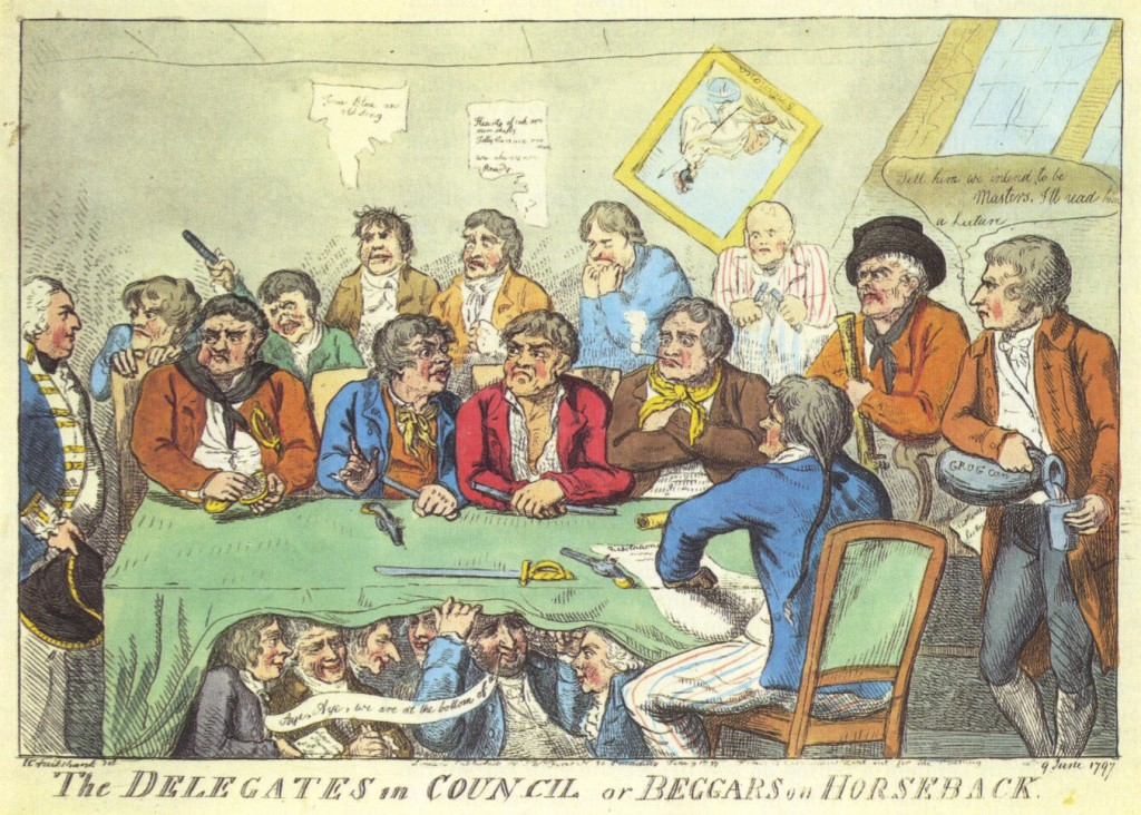 The Delegates in Council, or beggars on horseback, A contemporary cartoon of the delegation of sailors who devised the terms of settlement of the Mutiny of Spithead, 1797 (Vaisseau de Ligne, Time Life, 1979)