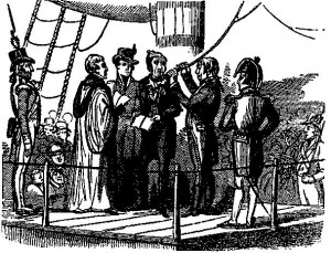 18th century illustration of Richard Parker (British sailor) about to be hanged for mutiny (Newgate Calendar)