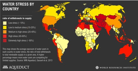 Figure 1: Global Water Scarcity (Source: World Resources Institute)