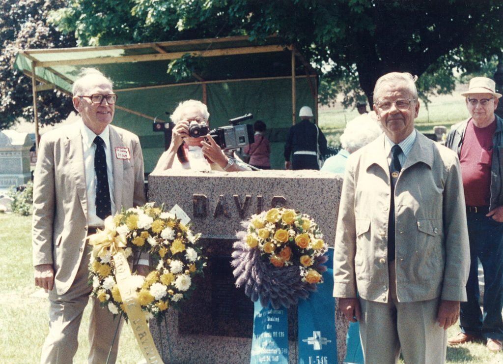 Dr. Philip K Lundeberg poses for a photograph with Kapitänleutnant Paul Just at the Frederick C. Davis survivors' organization held their annual reunion in Janesville, Wisconsin on Memorial Day, 1990.