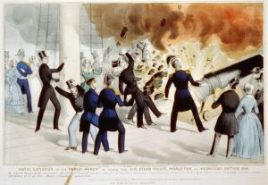 "Awful explosion of the ""peace-maker"" on board the U.S. Steam Frigate Princeton on Wednesday, 1844-02-28. New York: Published by N. Currier. Currier & Ives. A size. Lithograph print, hand-colored. Currier & Ives (LOC PHOTO)"