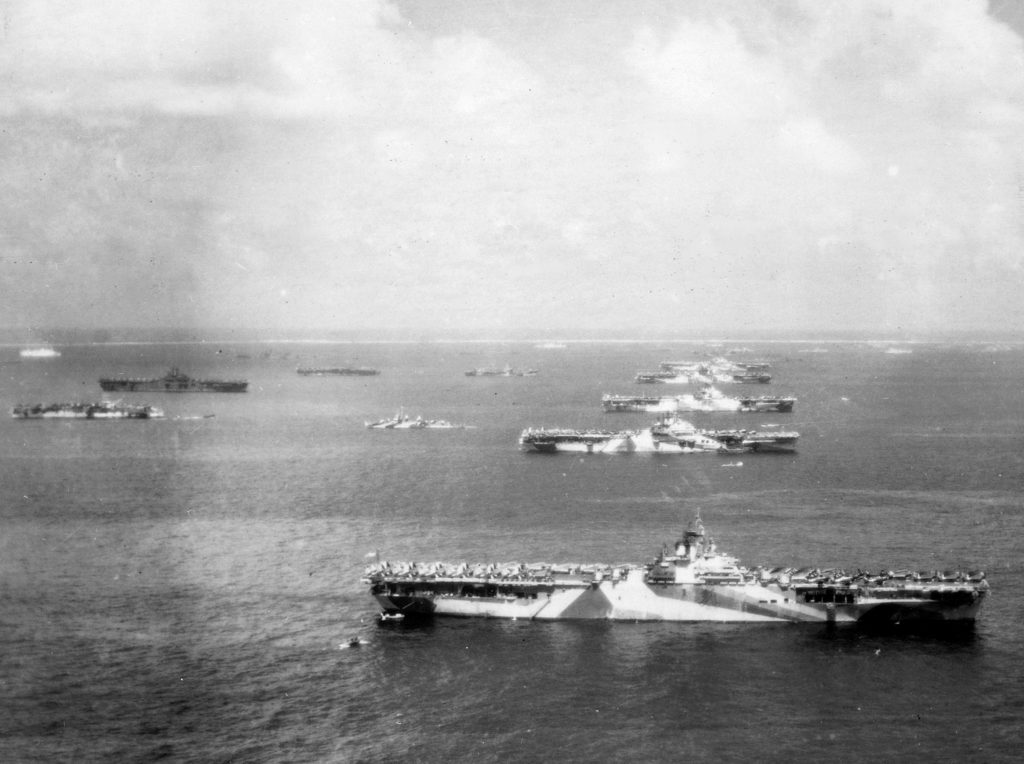 Aircraft carriers of Task Force 58 at anchor following the Battle of the Philippines Sea, Ulithi Atoll, December 8, 1944. (Official U.S. Navy photo 80-G-294131)