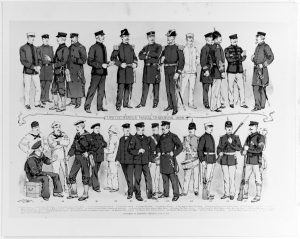 Supplement to Harper's Weekly, June 25, 1898. Artist: H.A. Ogden. The illustration depicts and labels various forms of Naval and Marine Corps uniforms. (NHHC Photo # NH 86170-KN)