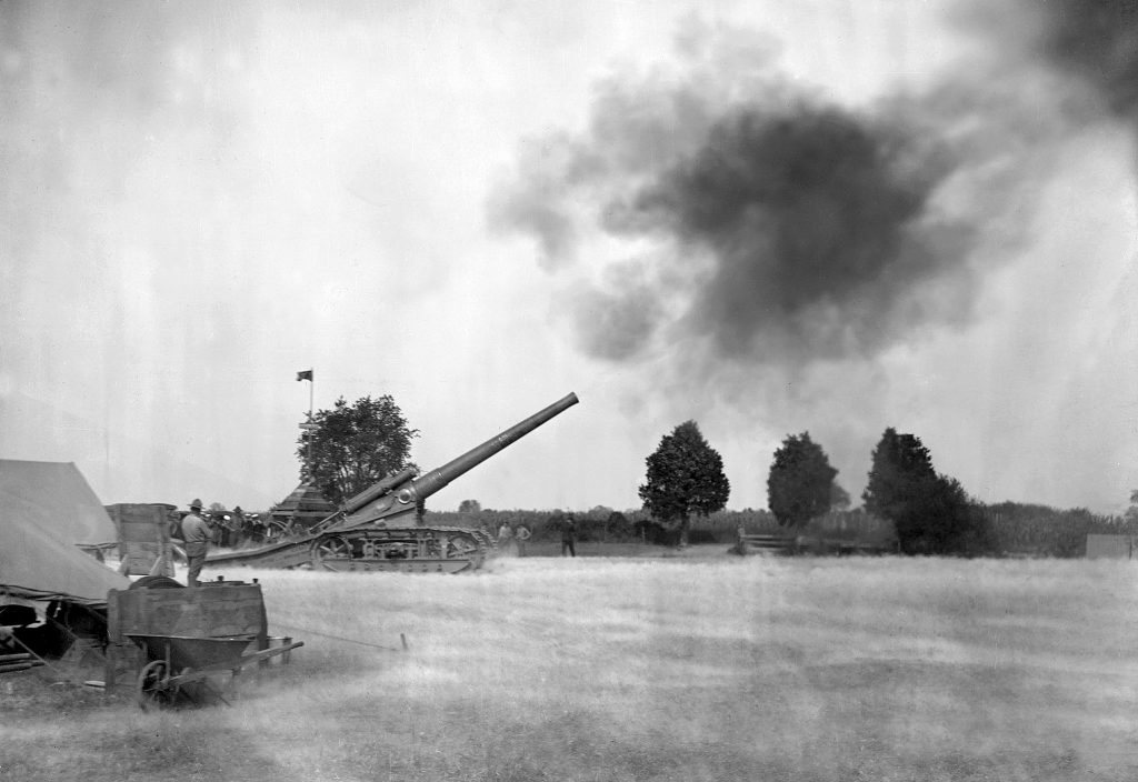 "1.First firing at Lower Station of the NPG Dahlgren, VA on  16 October 1918 (USMC 7""/45 caliber tractor mounted gun). (U.S. Navy photo)"
