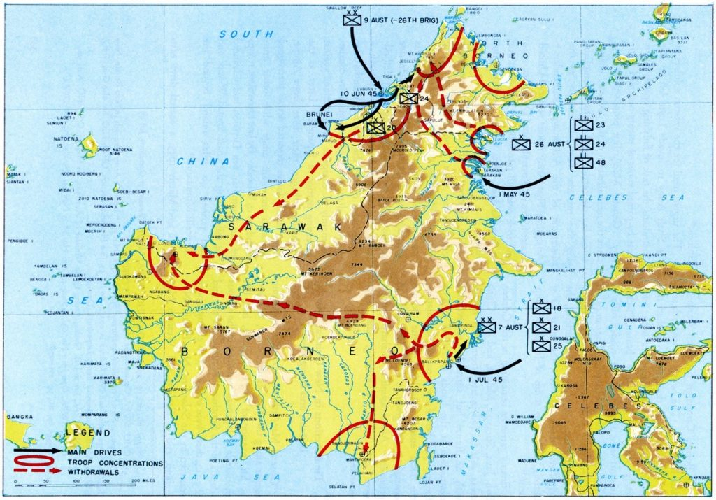 The Borneo Campaign, May-July 1945 Source: Willoughby, C.A. (ed.), Reports of General MacArthur, Vol. I: The Campaigns of MacArthur in the Pacific, Washington DC, 1966, p. 384.