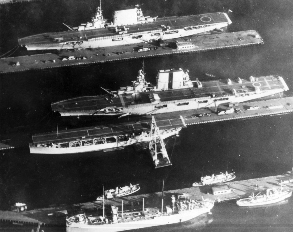 U.S.S. Lexington, Saratoga, and Langley (from top to bottom) at anchor in Puget Sound, 1929. (wikimedia commons)