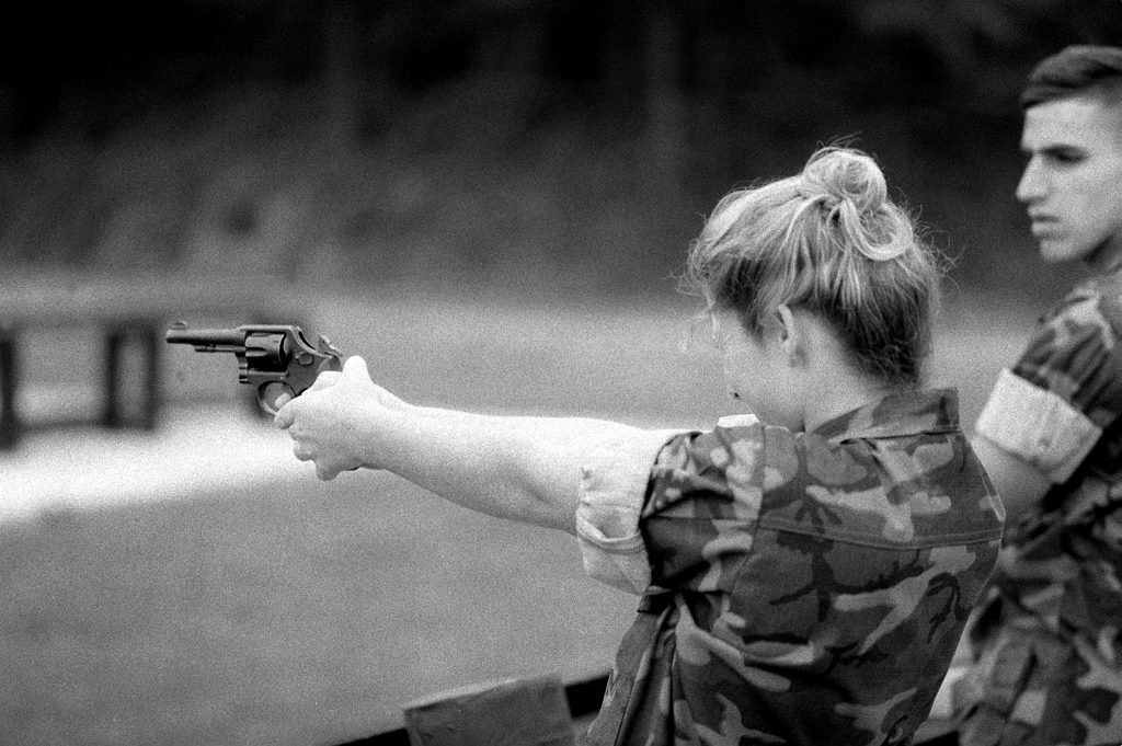 Lance Cpl. Jennifer L. Hague fires a .38-caliber service revolver as part of her training at the Marine Security Guard School, Marine Corps Development and Education Command. Each Marine must qualify with the revolver before assignment to an American embassy in a foreign country.