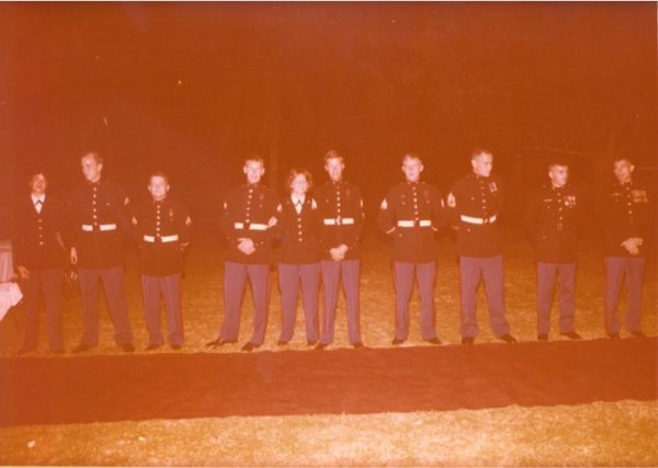1.Marine Security Guard Detachment, Karachi, Pakistan (November 1979). From right to left: Major Jeff Ronald, Captain Robert E. Lee, GySgt Craig Mullis, Sergeant Gary Downy, Sergeant Roy DeWitt, Corporal Vicki Gaglia, Corporal Terry Davis, Corporal Dennis Cooper, Lance Corporal Brian Tilden, Lance Corporal Betty Rankin