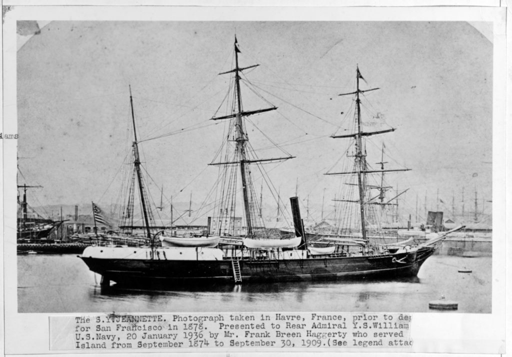 Photograph of the USS Jeannette. Source: Log Books of the United States Navy, 19th and 20th Centuries. (2014). Retrieved from http://www.naval-history.net/OW-US/Jeannette/USS_ Jeannette.htm