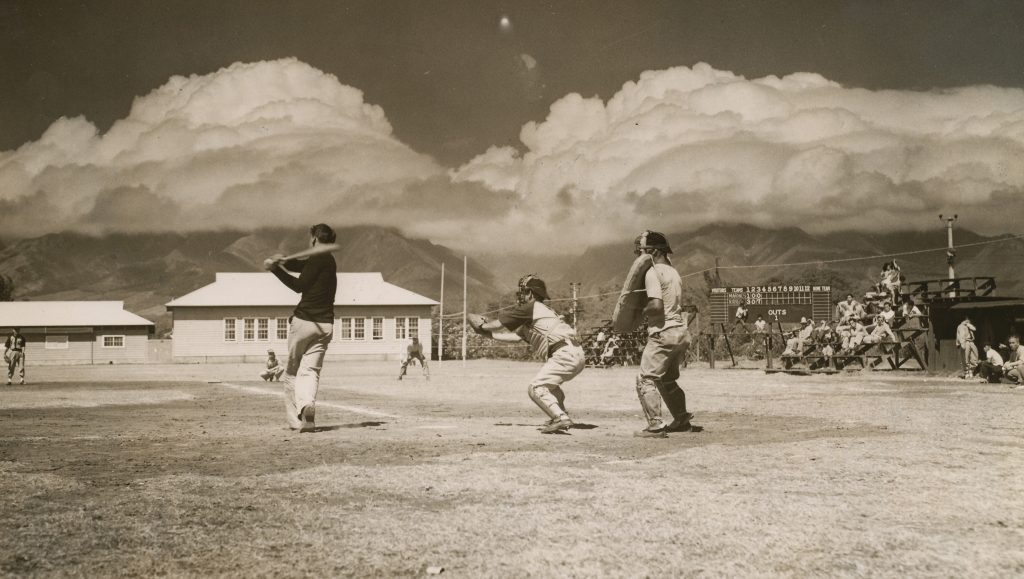 Marines and Seabees play Baseball in a USO sponsored league on one of several baseball fields on Maui.