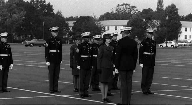 1.Sergeant Mary Columbus reports for inspection at Marine Security Guard School, Quantico, Virginia (1979)