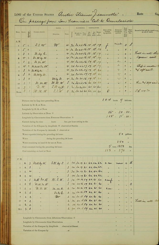 Handwritten page with meteorological data from a logbook of the USS Jeannette. Source: http:IIoldweather.s3.amazonaws.comlow31final/USS%20Jeannettelvol001of0041vo1001_ 042 0.jpg